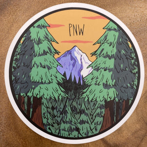 Mountain round Sticker