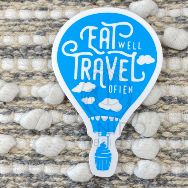 Blue Air Balloon Eat Well Travel Often Sticker