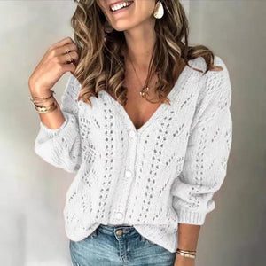 Single breasted hollow v-neck sweater