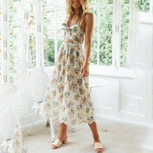 Load image into Gallery viewer, Sleeveless Front Tied Floral Casual Dress