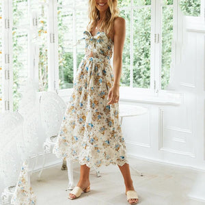 Sleeveless Front Tied Floral Casual Dress