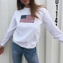 Load image into Gallery viewer, American Flag Printed Round Neck Hoodie