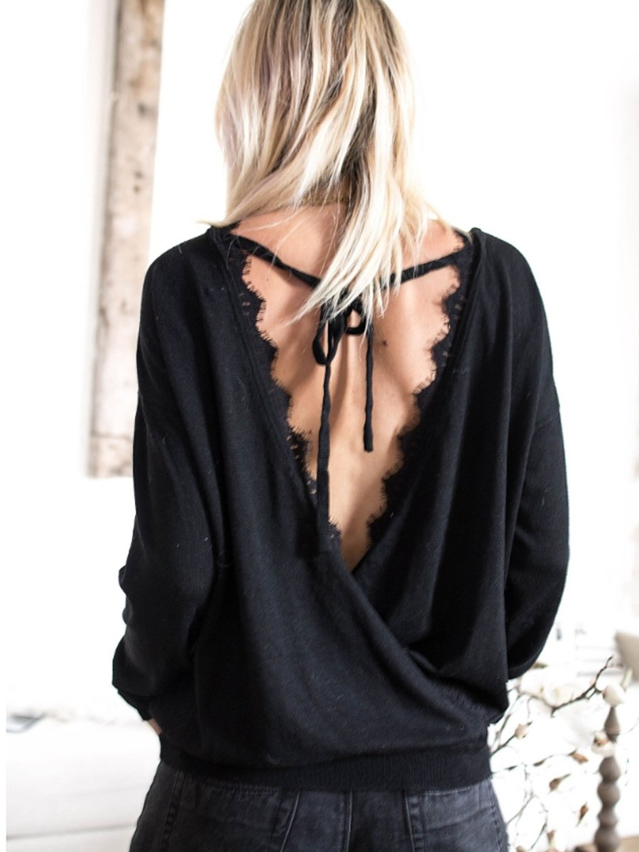 Crew Neck  Backless  Lace T-Shirts