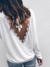 Load image into Gallery viewer, Crew Neck  Backless  Lace T-Shirts