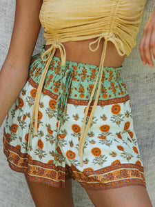 Bandeau sling lace-up top printed high waist two piece set