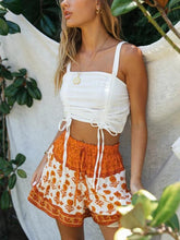 Load image into Gallery viewer, Bandeau sling lace-up top printed high waist two piece set