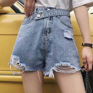 Women's Simple Frayed Loose Tassel Denim Shorts