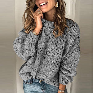 Solid color round collar sweater