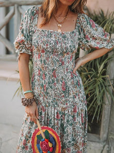 Square Collar Puff Sleeve Floral Print Dress