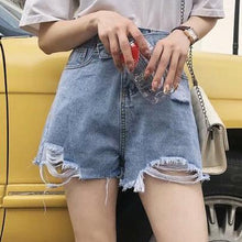 Load image into Gallery viewer, Women's Simple Frayed Loose Tassel Denim Shorts