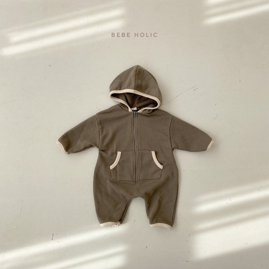 Bebeholic Hooded Zip Romper (2 colour options) - ooyoo