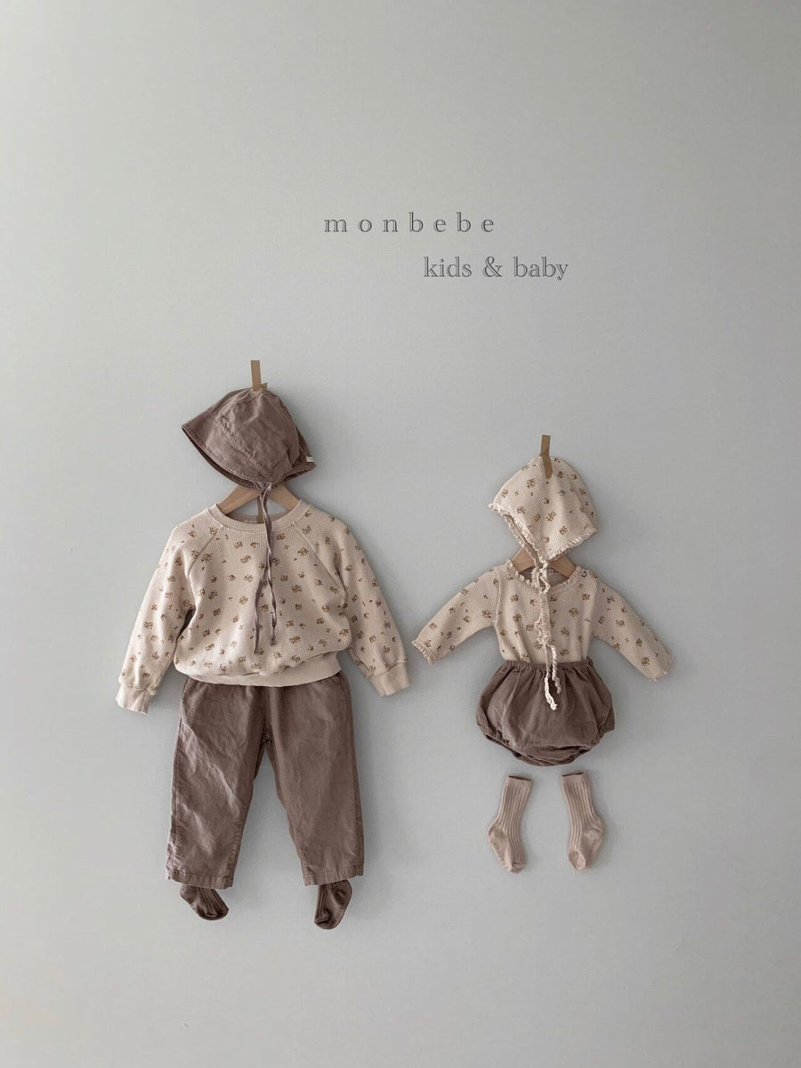 Monbebe Waffle Romper & Bonnet Set (3 colour options) - ooyoo