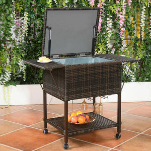 Portable Rattan Cooler Trolley