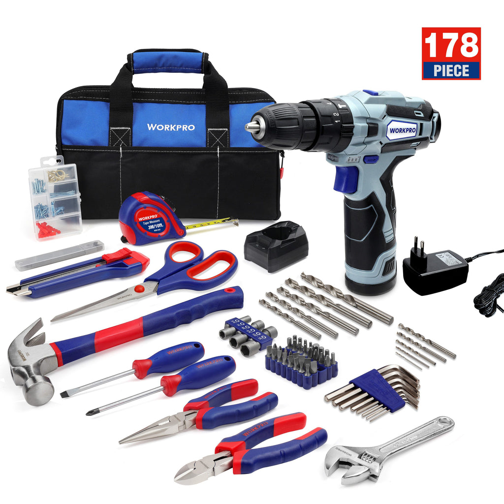 178 Pcs Home tool kit with 12V Cordless Drill Electric Screwdriver