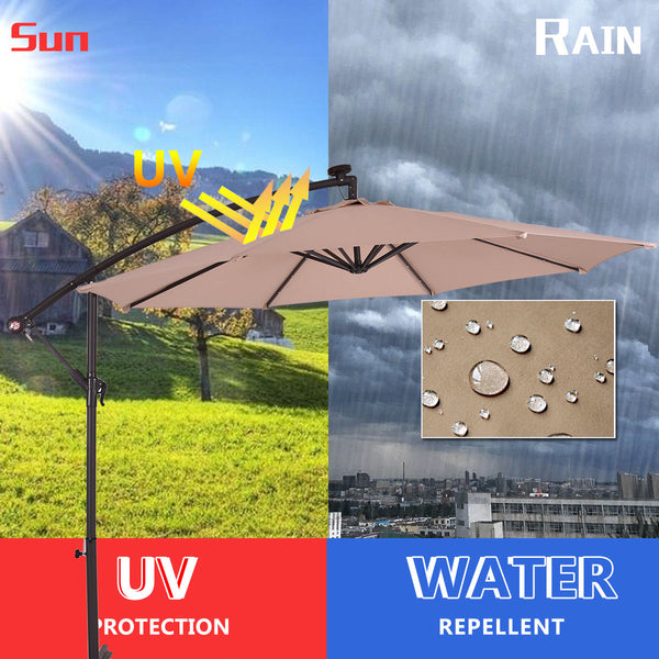 10ft Hanging Solar LED Umbrella Patio - Beige