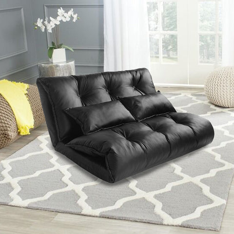 Foldable  Lazy Sofa Bed Pu Leather With Two Pillows