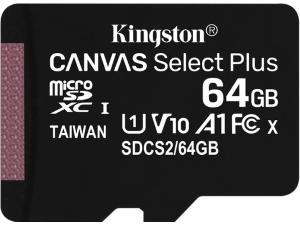 Kingston Canvas Select Plus 64GB Micro SD UHS-I Flash Card with Adapter