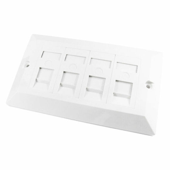 RJ45 CAT5E 4 in 1 Module Socket In Double Gang Face Plate