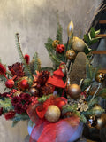 Holiday Golden Red Arrangement - Avelyn Florist in {{ shop.address.city }}, {{ shop.address.country }}