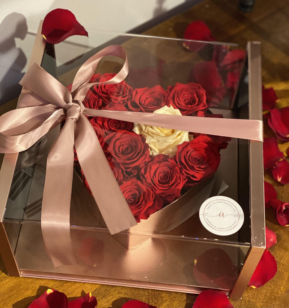 Everlasting Roses in Acrylic Window Heart Shaped Flower Box Container - Avelyn Florist in {{ shop.address.city }}, {{ shop.address.country }}