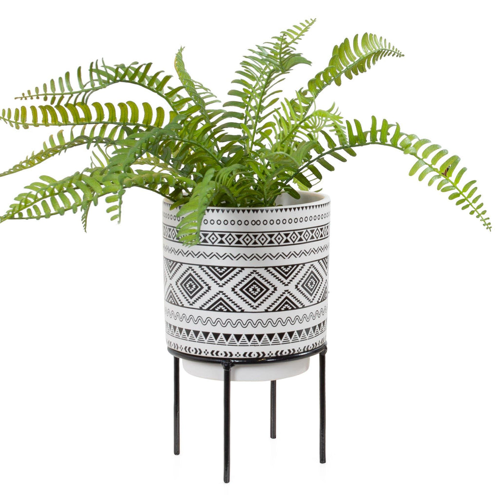 Aztec Diamond Print Ceramic Drop Pot Planter on Black Stand - Avelyn Florist in {{ shop.address.city }}, {{ shop.address.country }}