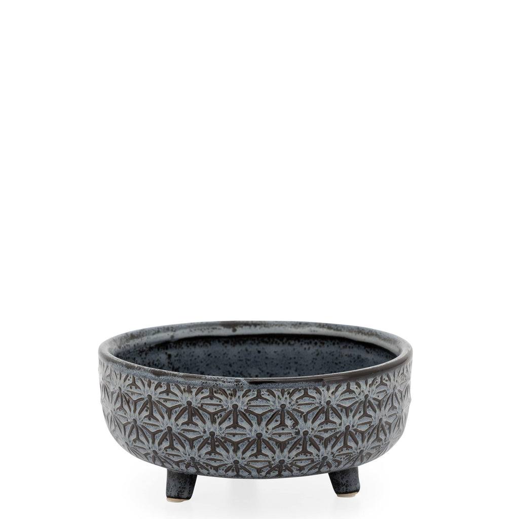 Star Black Glazed Ceramic Footed Succulent Pot - Avelyn Florist in {{ shop.address.city }}, {{ shop.address.country }}