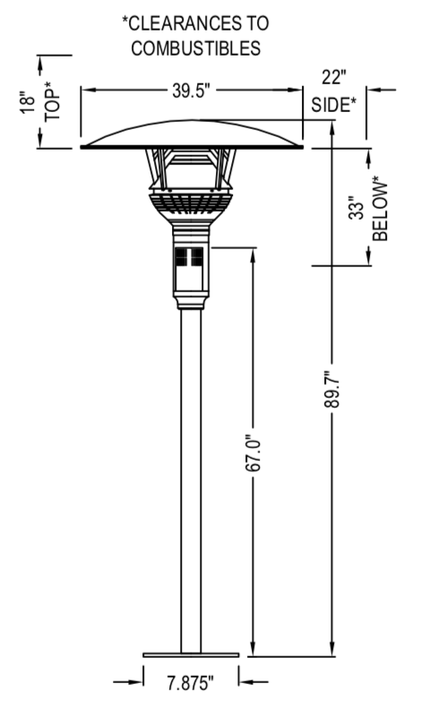 GA301U - IR Energy evenGLO, 53,000 btu, Natural Gas Patio Heater, Fixed Post Mount