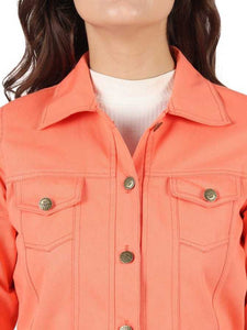 3/4th Sleeve Solid Women Denim Jacket - Orange