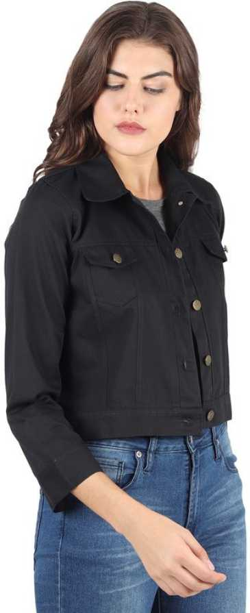 3/4th Sleeve Solid Women Denim Jacket - Black