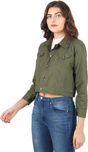 3/4th Sleeve Solid Women Denim Jacket
