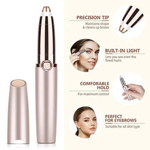 Load image into Gallery viewer, Flawless Eyebrow Hair Remover,Electric Painless Facial Hair Remover Trimmers with LED Light for Women - Rose Gold
