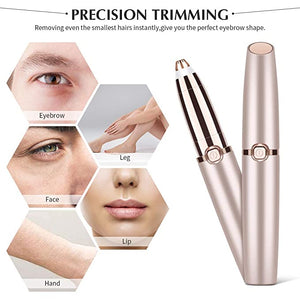 Flawless Eyebrow Hair Remover,Electric Painless Facial Hair Remover Trimmers with LED Light for Women - Rose Gold