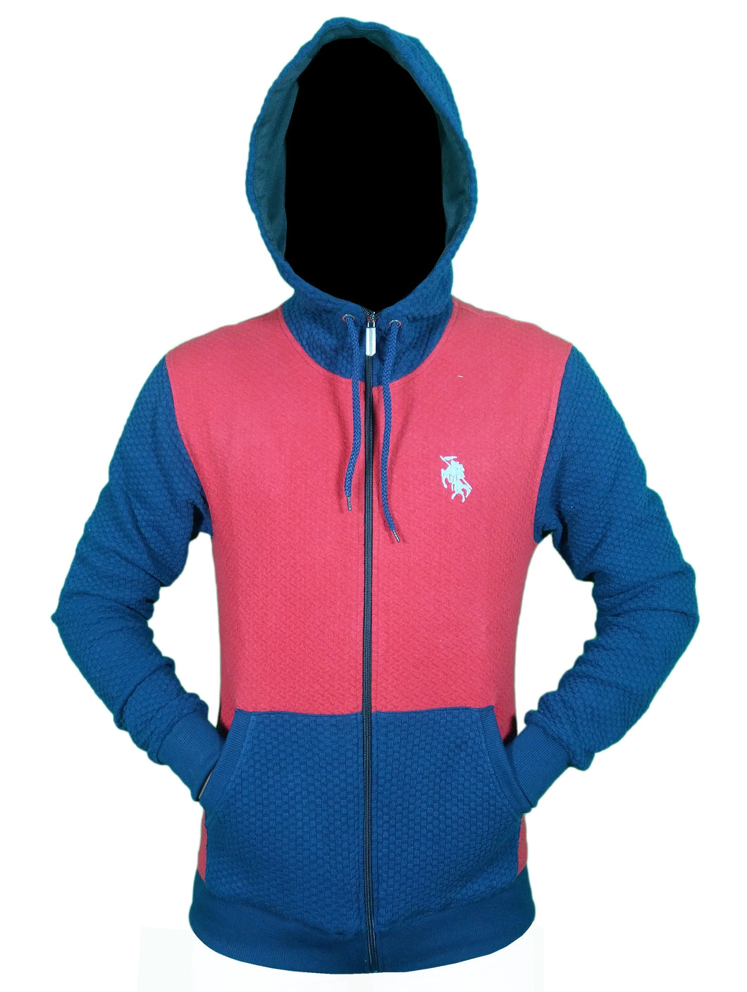 Kayi Classic Zip-Front Hoodie Wuffle Twin Colour Navy Blue-Red