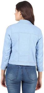 3/4th Sleeve Solid Women Denim Jacket - Light Blue