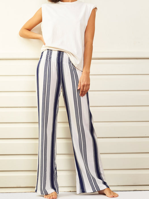 Le Lounge Pants - navy stripe