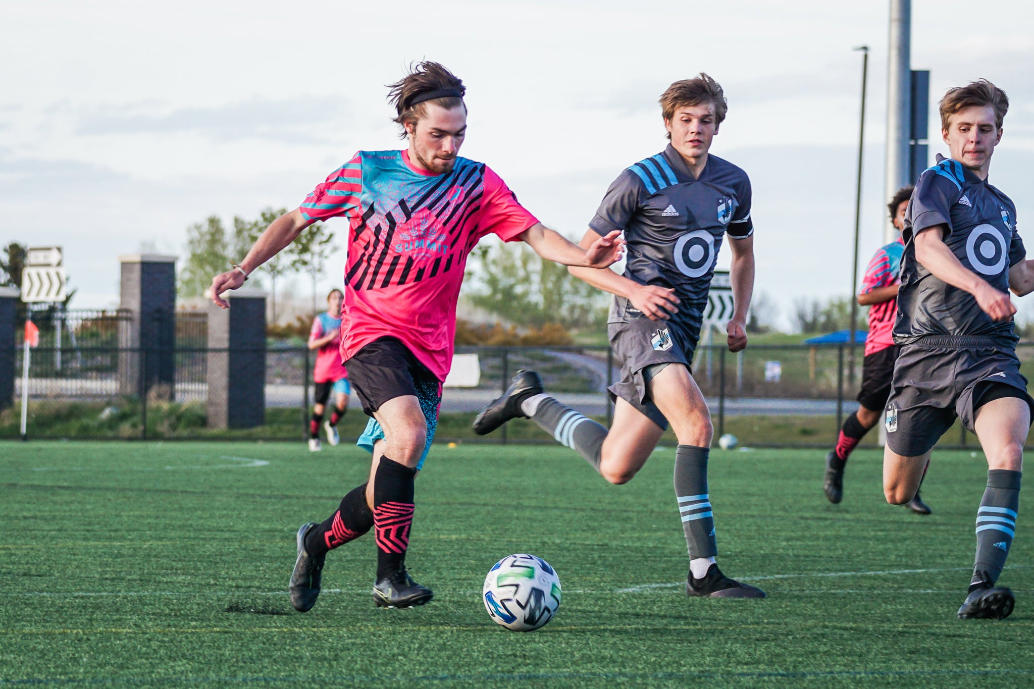 Zach Susee of Minneapolis City Futures drives toward goal against Minnesota United in the Crows' 3-2 win over the Loons