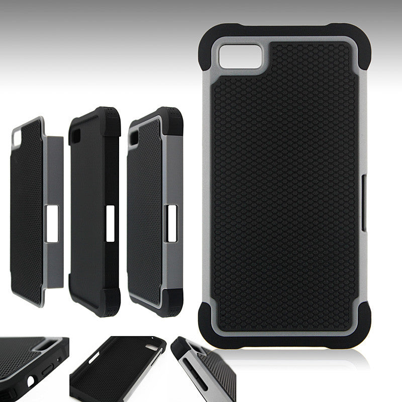 Bracevor Triple Layer Defender Back Armor Case Cover for Blackberry Z10 - Grey
