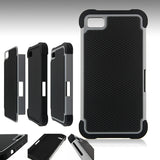 Triple Layer Defender Back Case for Blackberry Z10 - Grey