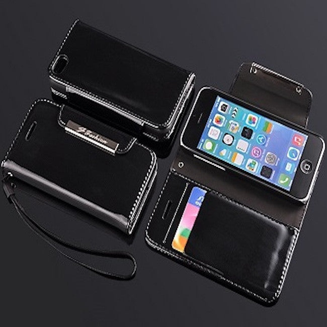 Jet Black Glossy Apple iPhone 5c Leather Case