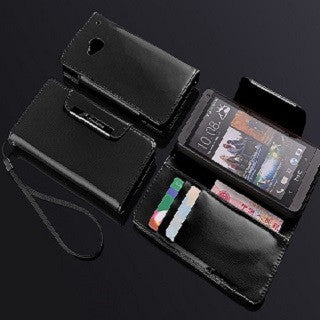Deluxe Black Glossy  Wallet Leather Case for HTC One M7