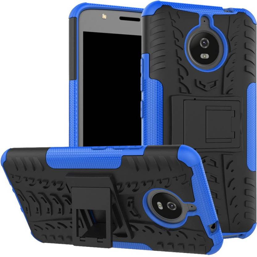 Shockproof Motorola Moto E4 Plus [5.5 inch] Hybrid Kickstand Back Case Defender Cover - Blue