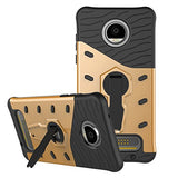 Moto Z2 Play Back Case Cover Hybrid 360 Rotating Kickstand - Golden