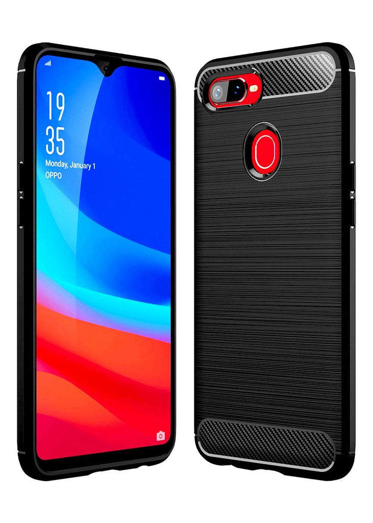 Bracevor Oppo Realme U1 Back Case Cover | Flexible Shockproof TPU | Brushed Texture - Black