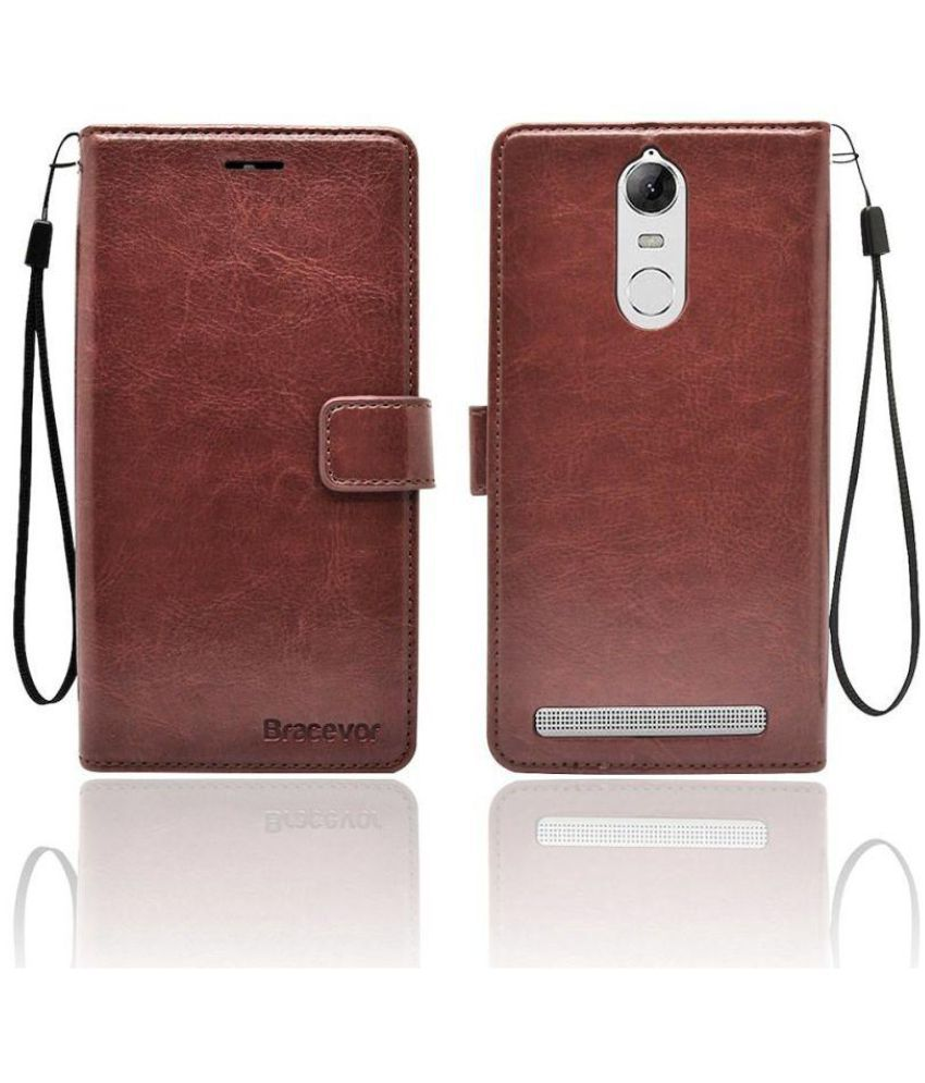 Bracevor Premium Leather Case Inner TPU, Wallet Stand Flip Cover For Lenovo Vibe K5 Note(Executive Brown)