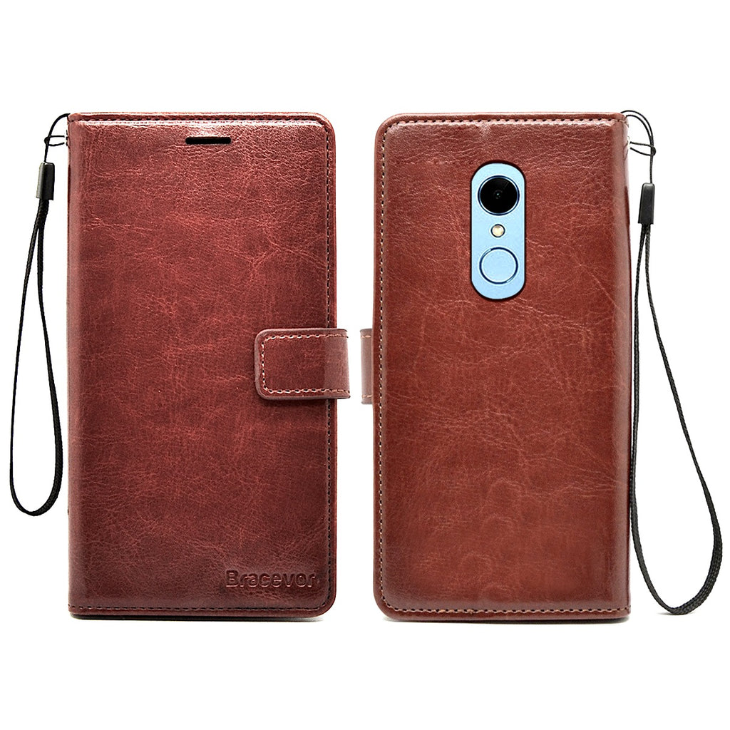 Bracevor Xiaomi Redmi Note 5 Premium Flip Cover Leather Case | Inner TPU | Wallet Stand - Executive Brown