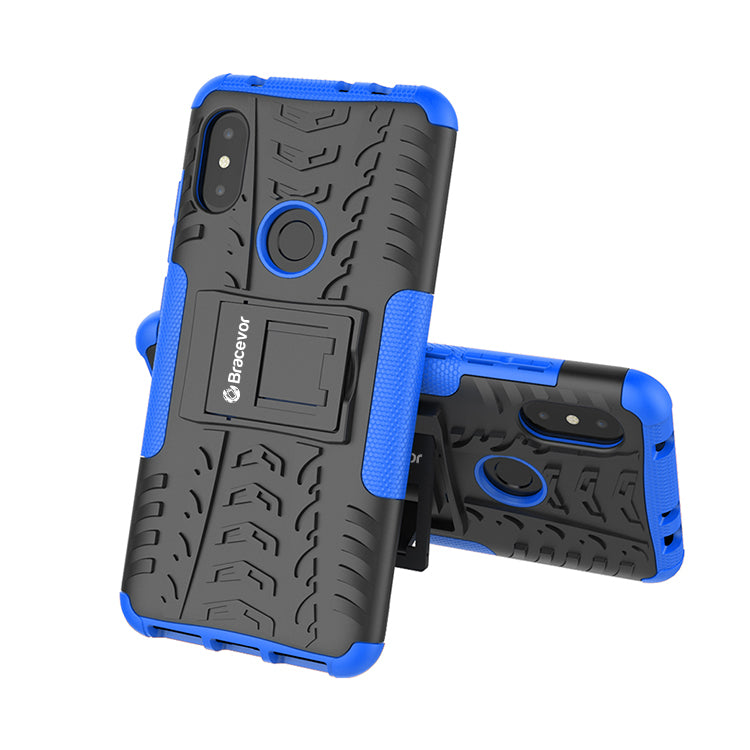 Bracevor Shockproof Xiaomi Redmi Note 6 Pro Hybrid Kickstand Back Case Defender Cover - Blue