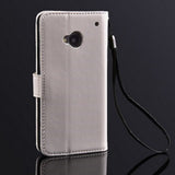 Wallet Leather Case Cover for HTC One M7 - Classic White