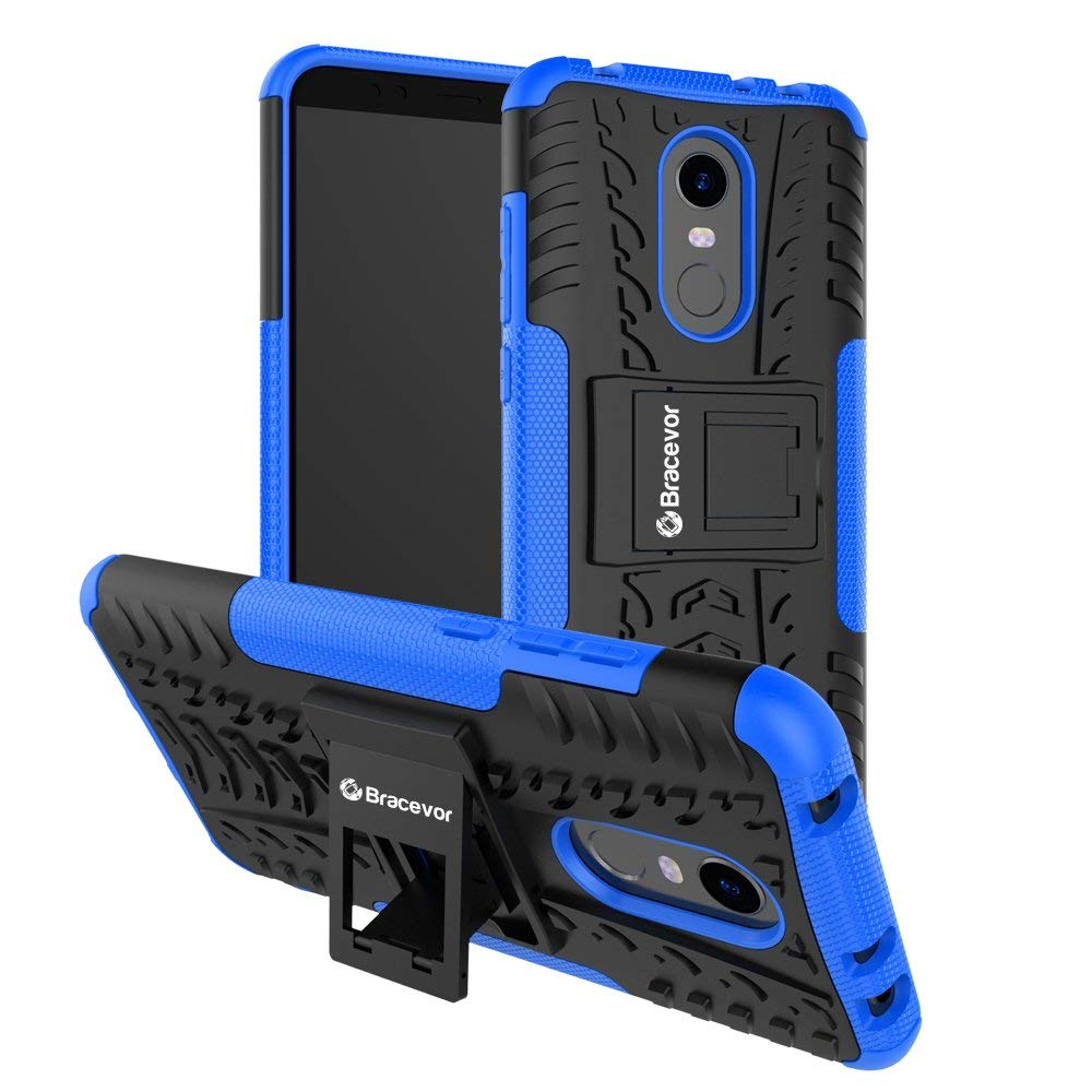 Bracevor Shockproof Hybrid Kickstand Back Case Defender Cover For Xiaomi Redmi Note 5 - Blue