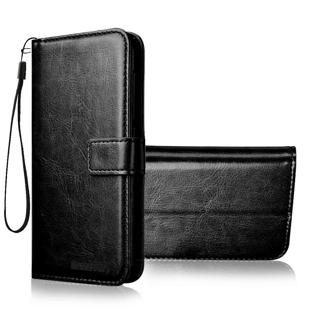 Bracevor Xiaomi Redmi 5 Flip Cover Case | Premium Leather | Inner TPU | Foldable Stand | Wallet Card Slots - Executive Black