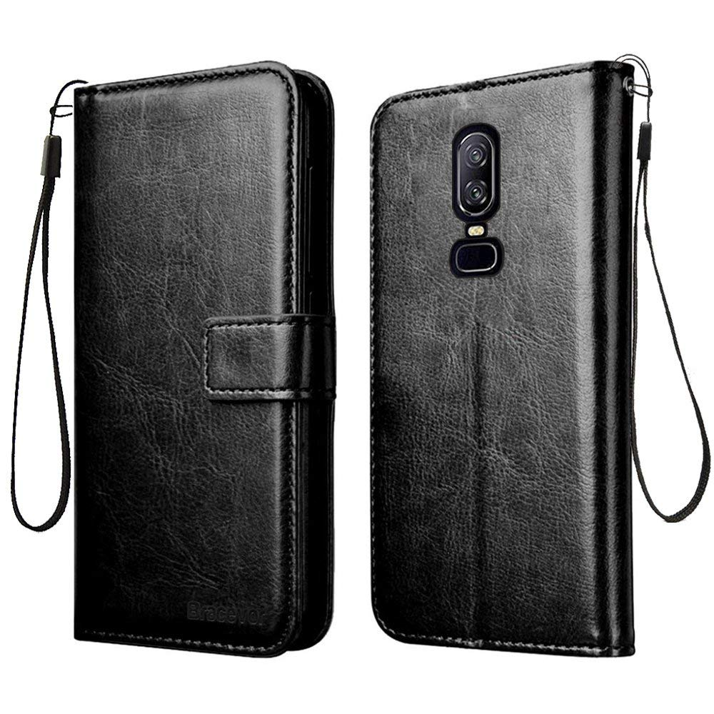 Bracevor OnePlus 6 | One Plus 6 Flip Cover Case | Premium Leather | Inner TPU | Foldable Stand | Wallet Card Slots - Executive Black